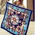 2016 de la bufanda del satén de las mujeres de moda marca de lujo alas de plumas cebra Sra. heavy twill de seda cuadrado grande 130*130 cm