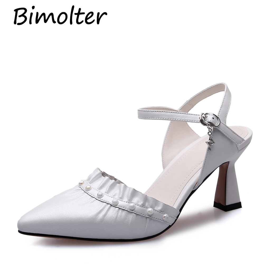 Bimolter Genuine real leather pointed toe pink black fashion Thin high heels pumps with buckle strap ruffles woman shoes FC069