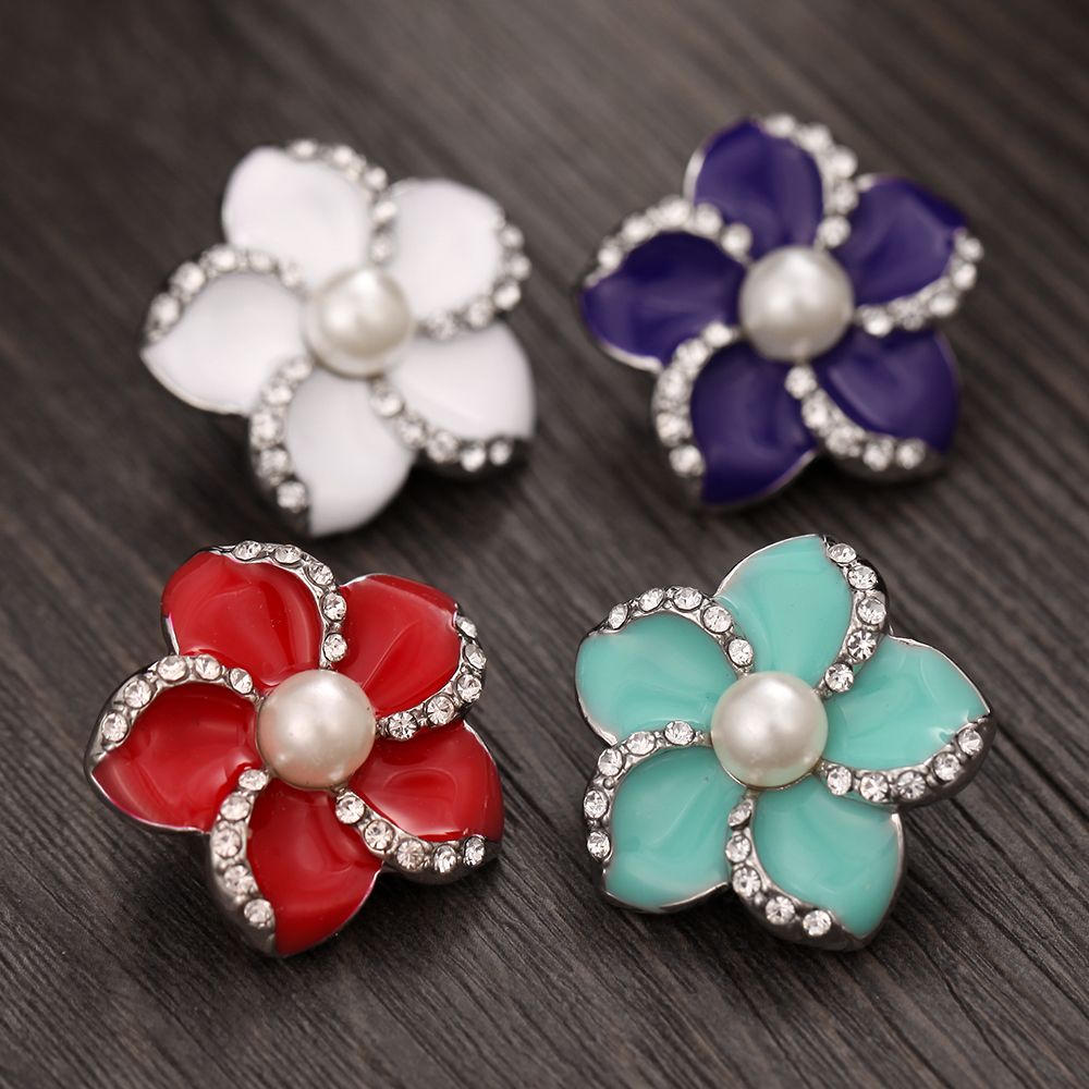 6pcs/lot Hot Randomly Mixed Snap Jewelry Rhinestone Metal Snap Button press buttons For 12mm Snap Bracelets for Women