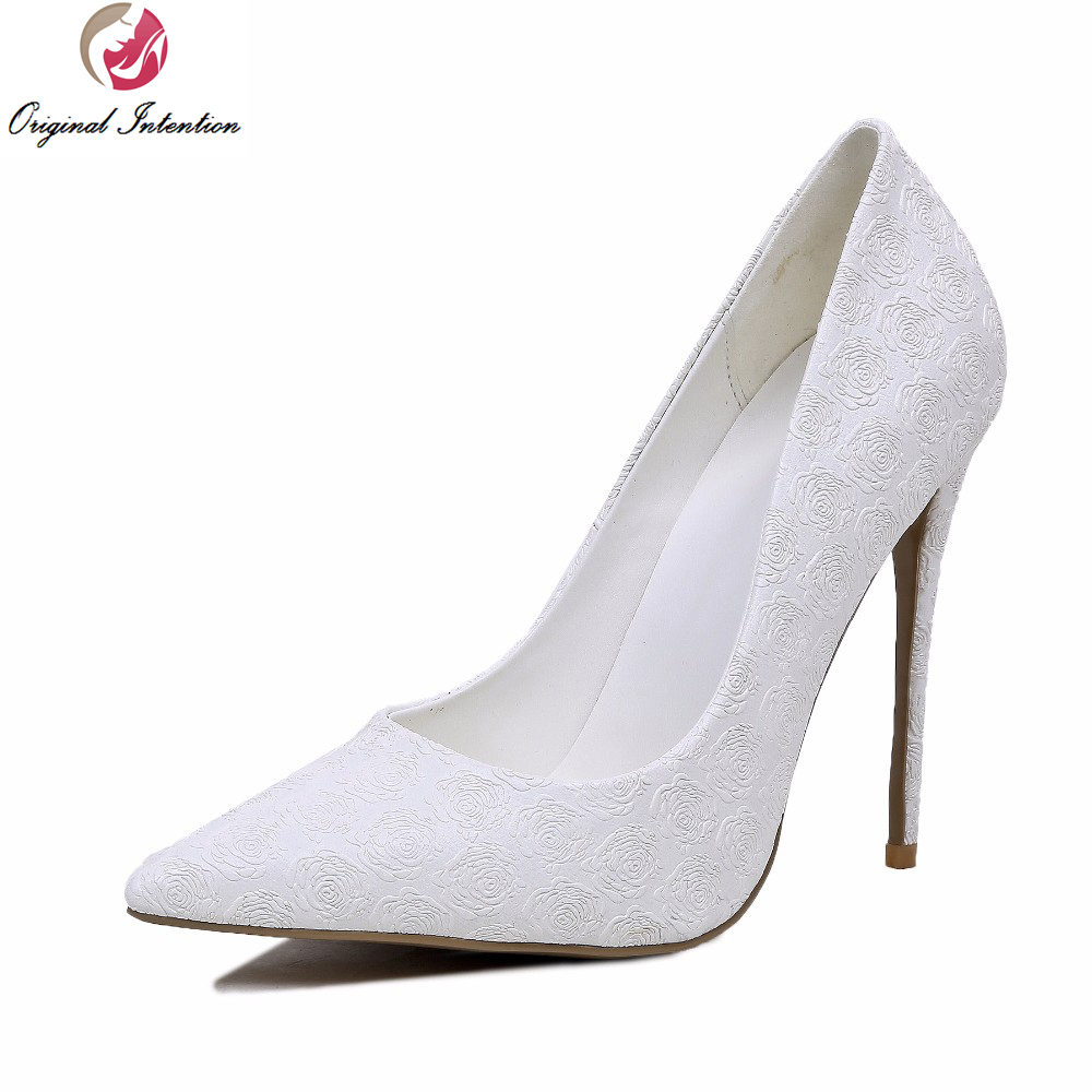Original Intention New Grace Women Pumps Sexy Pointed Toe Thin Heels Wedding Pumps Elegant White Shoes Woman Plus Size 4-10.5 bowknot pointed toe women pumps flock leather woman thin high heels wedding shoes 2017 new fashion shoes plus size 41 42