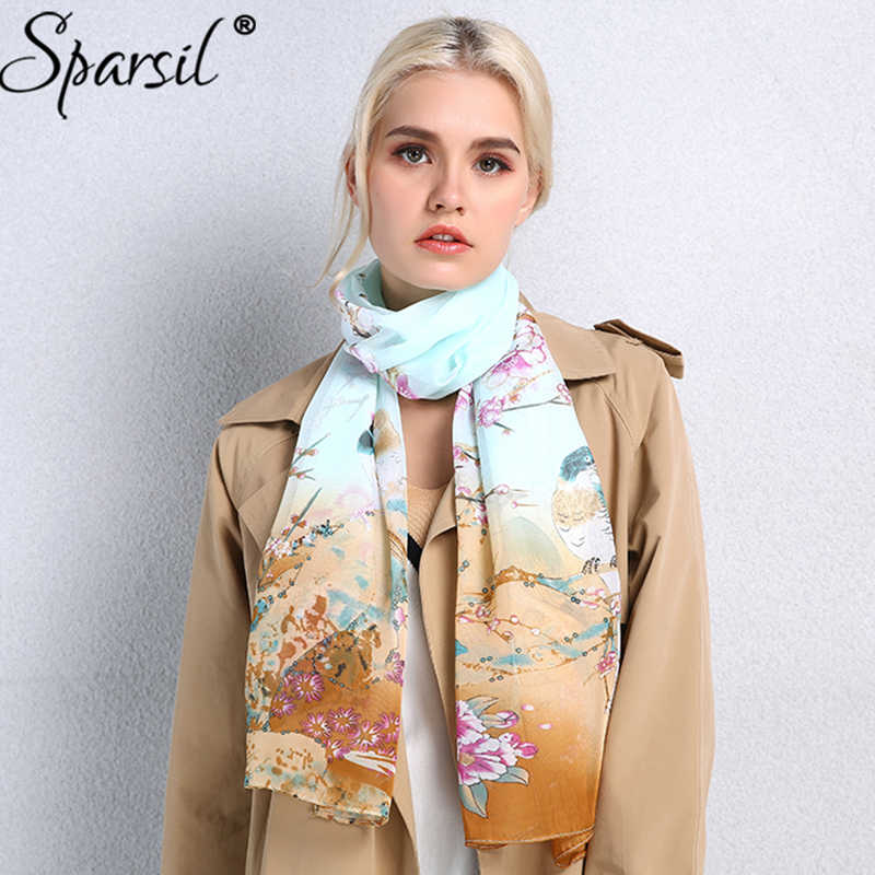 Sparsil Women New Spring Long Flower Animal Printed Scarf High Quality Chiffon Wraps Summer Fashion Fake Silk Scarves Female