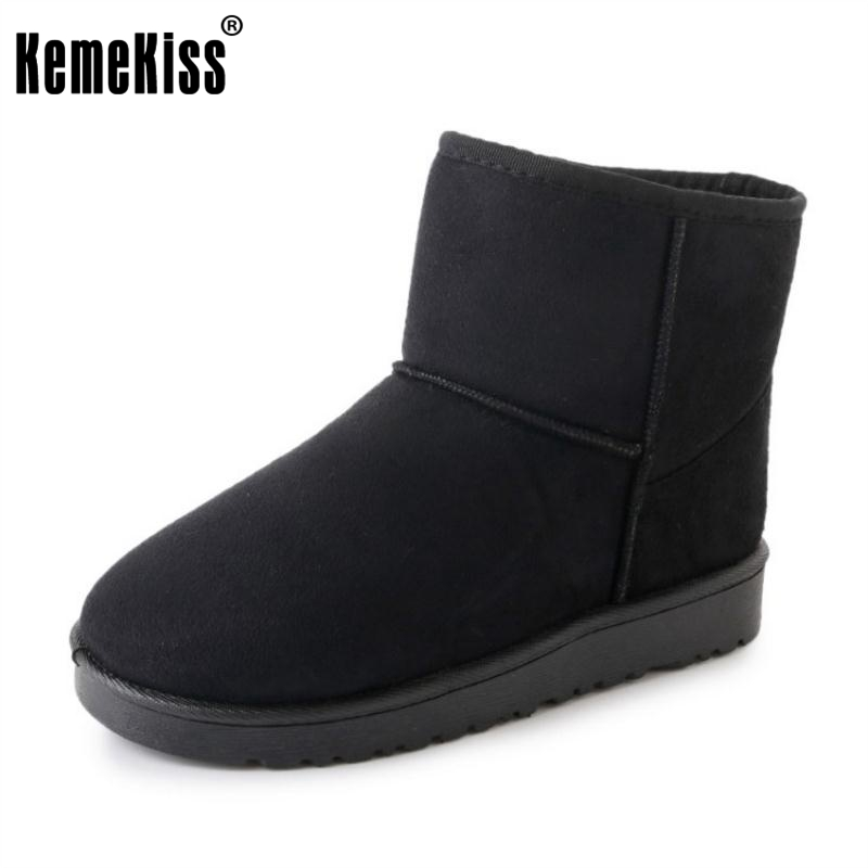 KemeKiss Winter Shoes Women Thick Fur Inside Ankle Snow Boots For Women Slip On Thick Fur Warm Plush Botas Footwear Size 36-40