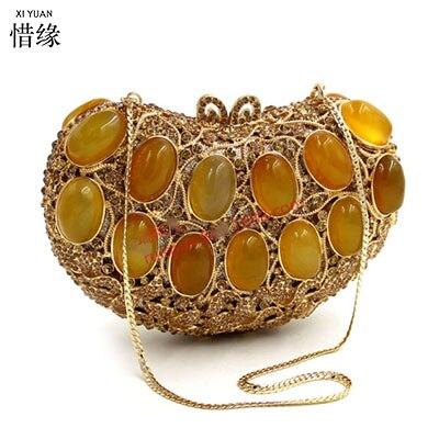 Agate Mariée De Xiyuan Or Gem Embrayage Femmes D'épaule Marque Bourse Dames Mode Portefeuille 2017 Filles Plein Diamant Cadeaux Partie Sacs qazqAZ