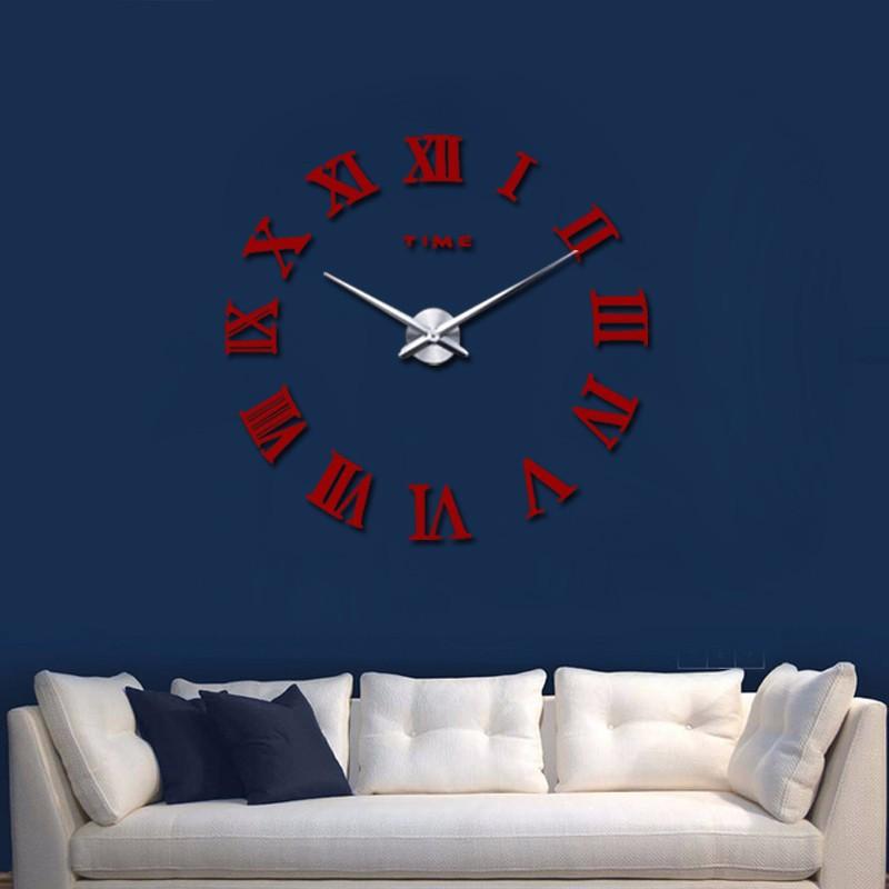 promotion 16 new home decor large roman mirror fashion modern Quartz clocks living room diy wall clock watch free shipping 10