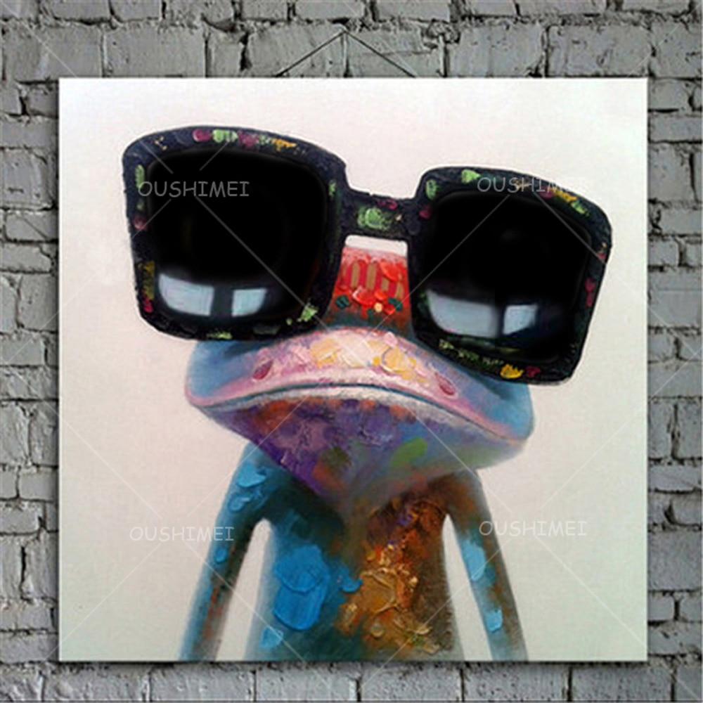 Rajzfilm állat absztrakt olajfestmény Béka szemüveget visel - Lakberendezés - Fénykép 5
