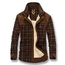 Isurvivor 2020 homens outono inverno grosso lã xadrez camisas masculina moda casual fino ajuste grande tamanho camisa de invernoCamisas casuais