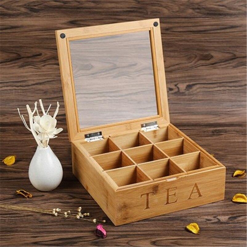 Organisateur de thé de récipient de stockage de café en bois solide de XMT-HOME pour la boîte de bambou de thé/café de tie guan yin/vert