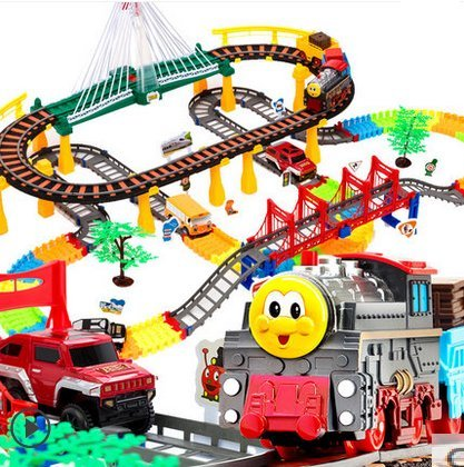 212 pcs Oversized thomas electric train tracks set multi-layer electric toy Toy Train Set Tracks