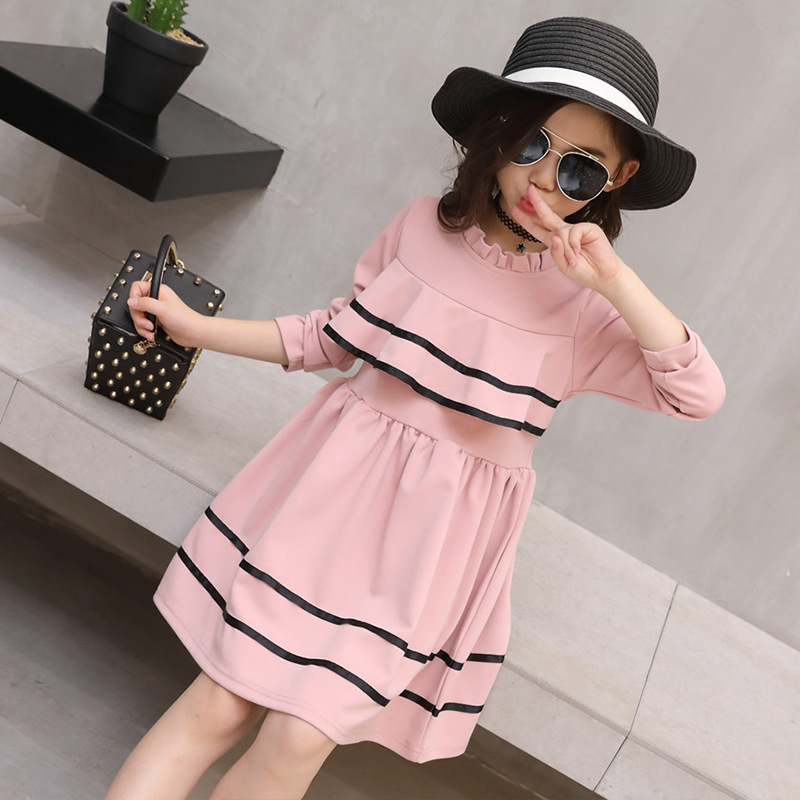 6-16Y Princess Girls Dress Long Sleeve 2017 Autumn Brand Children Christmas Dress with Ruched Kids Dresses for Girls Clothing acthink 2017 new girls formal solid lace dress shirt brand princess style long sleeve t shirts for girls children clothing mc029
