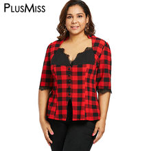 PlusMiss Plus Size Red Plaid Checked Lace Blouse Shirt Women Big Size  Autumn 2018 Vintage Retro Tunic Tops Ladies Blusas Femme 0964bbdeb975