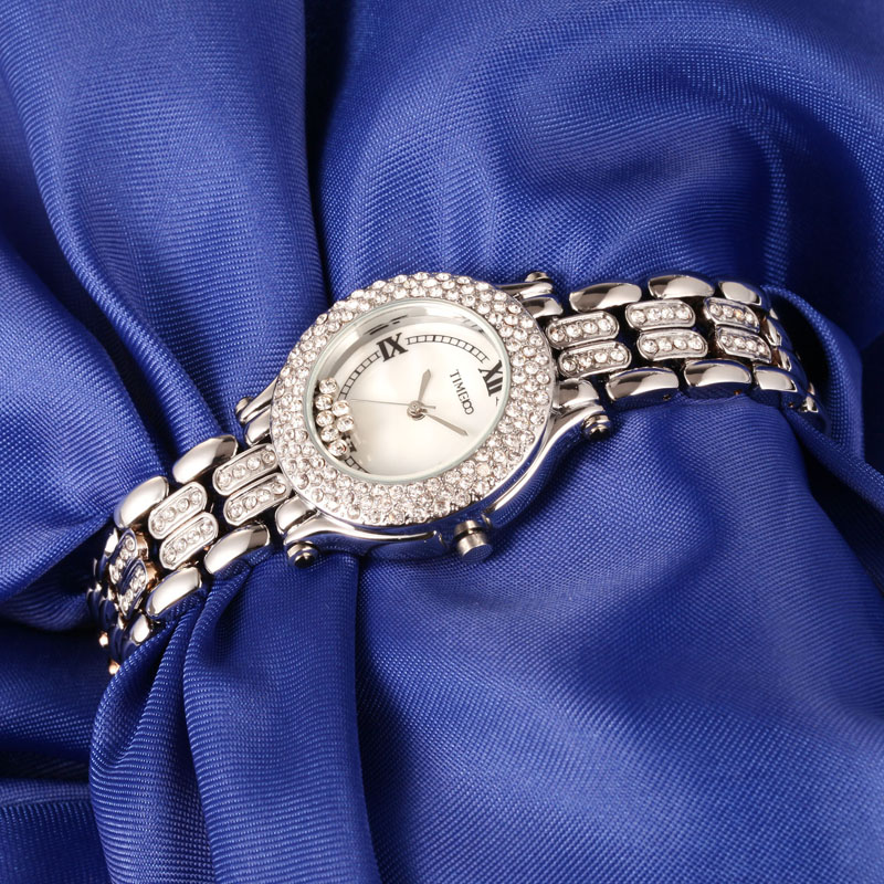 New TIME100 Women's Watch Shell Dial Diamond Bezel Silver Alloy Strap Ladies Quartz Hand Wrist Watches For Women Clock amica luxury crystal diamond blue shell dial womens quartz watch ladies watch