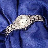 New TIME100 Women's Watch Shell Dial Diamond Bezel Silver Alloy Strap Ladies Quartz Hand Wrist Watches For Women Clock