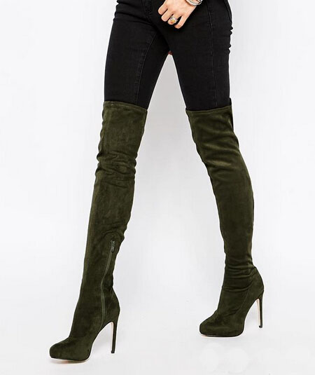 New designer custom slimmer thigh high womens suede leather long boots slip-on round toe high heel boots celebrities party shoes