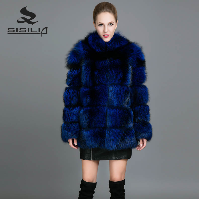 SISILIA 2017 Neue Fuchspelz Mäntel Frauen Winter Echtem Leder Pelzmäntel Hohe Qualität Blau Fuchspelz Streifen Warme Jacken weibliche