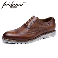 Vintage Genuine Leather Men S Handmade Oxfords Round Toe Man Wingtip Flats British Designer Formal Dress