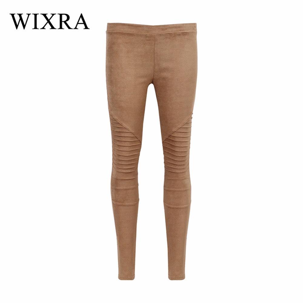 WIXRA Basic Jeans Slim Suede Denim Ribbed Pants Fashion Skin Faux Leather Leggings Charming Skinny Pleated Trousers For Female