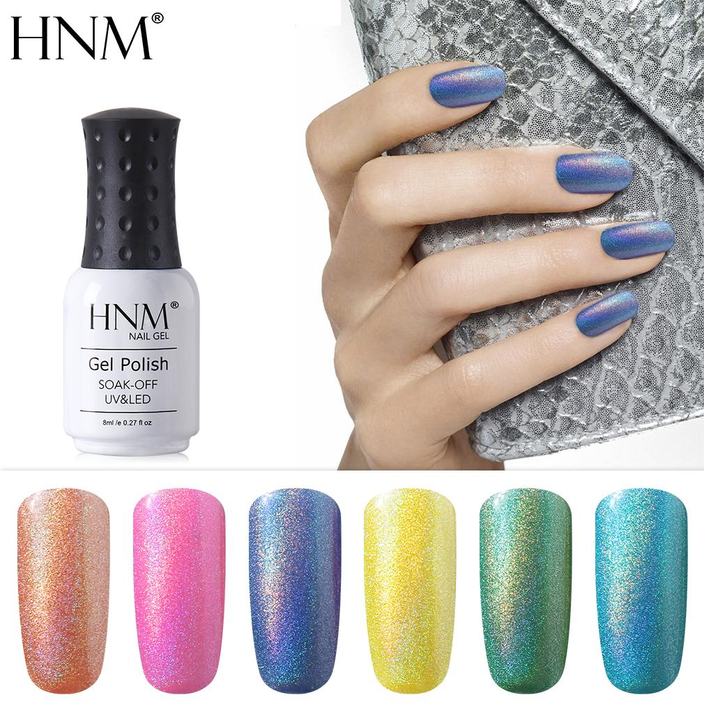 Hnm 8ml Rainbow Shimmer Uv Led Gel Polish Professional Long-lasting Nail Lucky Varnish For Nail Art Design Manicure Hybrid Beneficial To Essential Medulla Nails Art & Tools