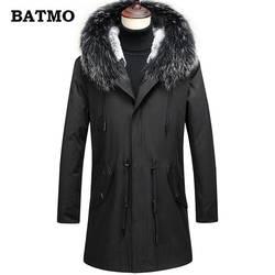 BATMO 2018 Новое поступление Зима Высокое качество кроличий мех лайнер и енот меховой воротник с капюшоном парки мужские, Мужские натуральный