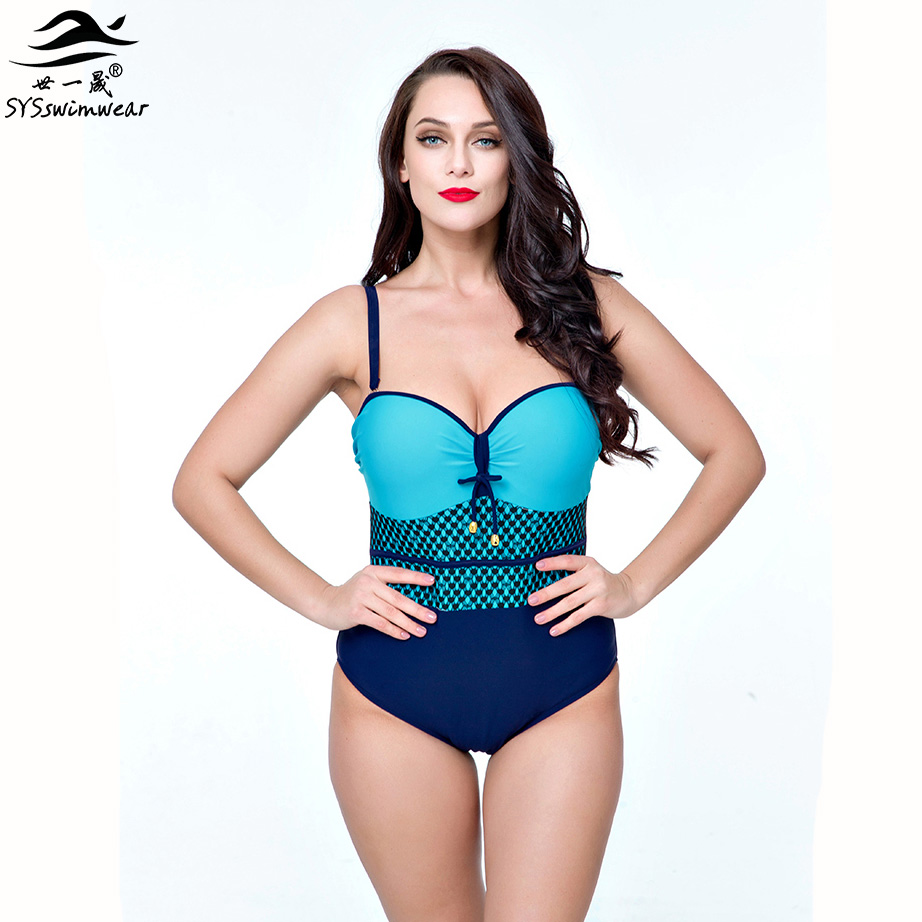 High quality Plus Size Plaid Sexy Women One Pieces Swimwear Big Breast Backless Lady Swimsuit Summer Beach Bathing suit 44-52 high quality new summer beach sexy girl solid backless big bow one piece swimwear bathing suit concise design swimsuit