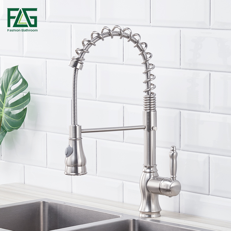 FLG Kitchen Faucet Brass Brushed Nickel Faucet for Kitchen Tap Pull Out Rotation Spray Mixer Tap Torneira CozinhaFLG Kitchen Faucet Brass Brushed Nickel Faucet for Kitchen Tap Pull Out Rotation Spray Mixer Tap Torneira Cozinha