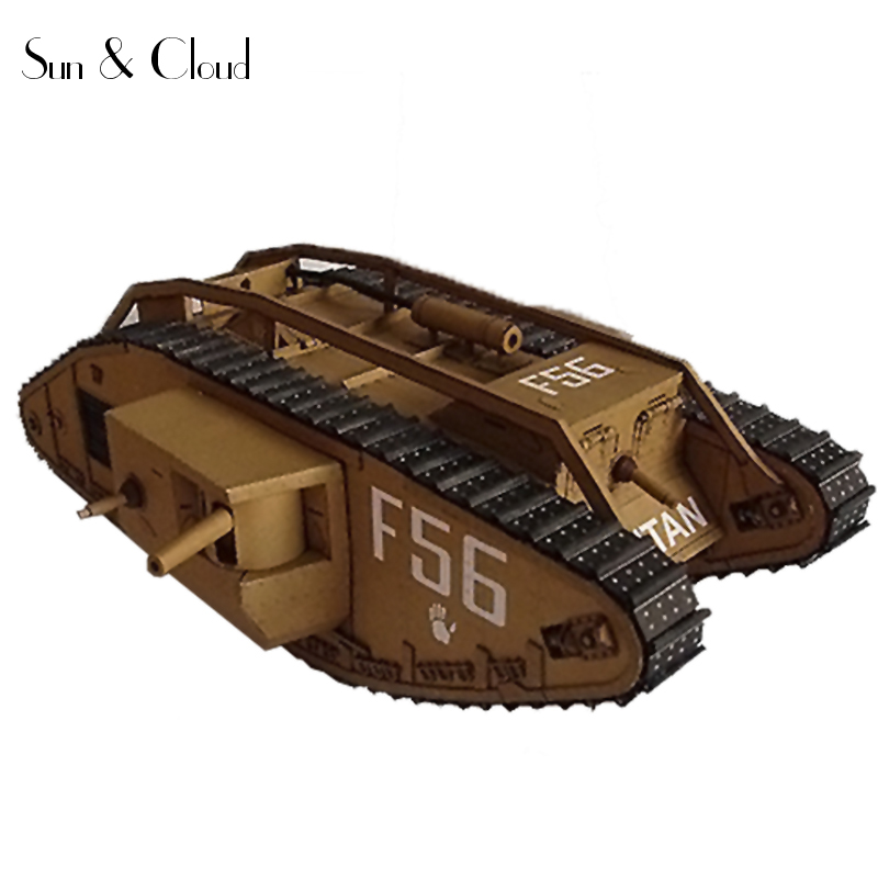 DIY 1:25 3D 41 X 16cm British Mark IV Tank Paper Model first world war Assemble Hand Work Puzzle Game DIY Kids Toy 1 32 diy 3d supermarine spitfire ixc type fighter plane aircraft paper model assemble hand work puzzle game diy kid toy