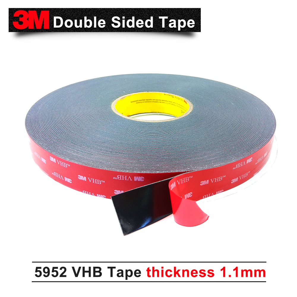 3M VHB 5952 high sticky acrylic adhesive foam tape/it can sticky to Glass,Metal and so on size is 12mm*33M/5rolls/lot 1piece 3m vhb 5952 heavy duty double sided adhesive acrylic foam tape black 150mmx100mmx1 1mm