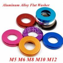 20pcs M5 M6 M8 M10 M12 Aluminum alloy flat washer gasket Anodized Multi-color alu washer for RC Model Parts 10pcs m6 12 2mm aluminum flat washer for rc model part anodized aluminum countersunk gasket washer meson mix 11 colors