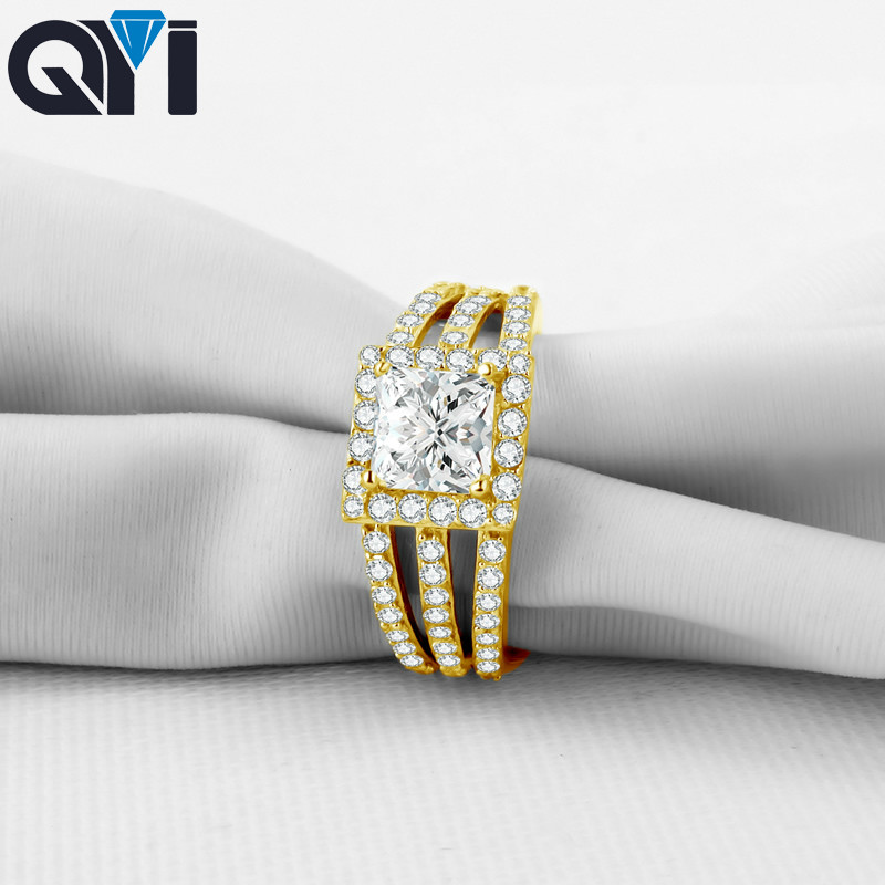 QYI 14K Solid Yellow Gold Multi Row Band Rings Princess Cut Sona Simulated Diamond Halo Wedding
