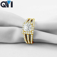 QYI Girl Jewelry 10K Solid Yellow Gold Rings Princess Cut Sona Simulated Diamond Halo Rings For Women Wedding Engagement Jewelry