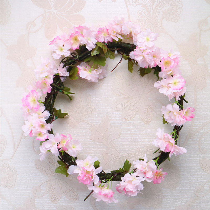 Image 3 - 230cm Silk Sakura Cherry Blossom Vine Lvy Wedding Arch Decoration Layout Home Party Rattan Wall Hanging Garland Wreath Slingers-in Artificial & Dried Flowers from Home & Garden