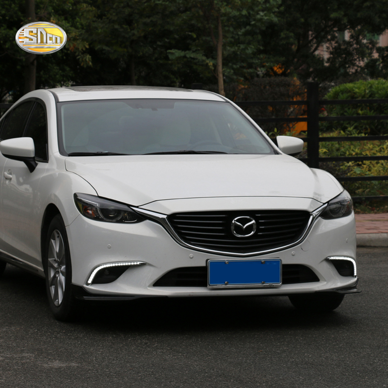 SNCN Led Daytime Running Lights For Mazda 6 2016 2017 DRL Fog lamp cover daylight with yellow turn signal lamp sncn led daytime running lights for honda city 2015 2016 fog lamp cover drl with yellow turn signal lights