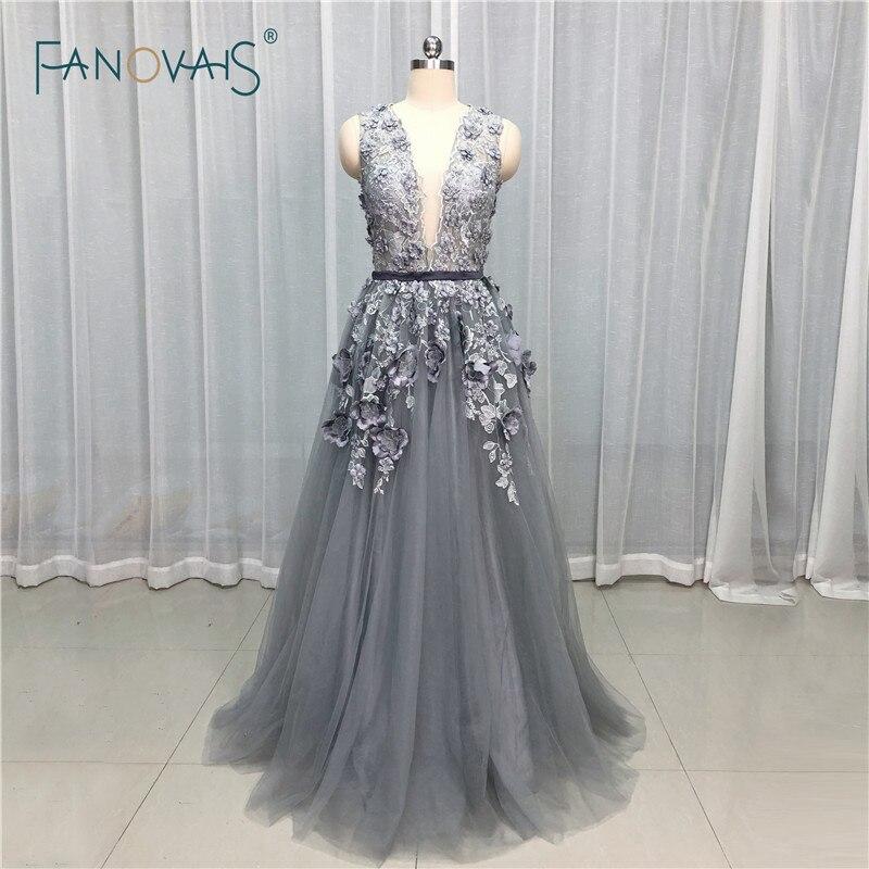 Robes de soirée grises 2019 col en V profond fleur cristal perlé robe de soirée formelle robe de bal robe de Fiesta NE33