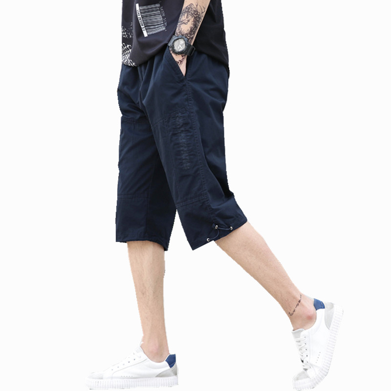 Summer Mens Baggy Multi Pocket Military Zipper Cargo Shorts mens breeches Male Long Mens Tactical Short Plus Size