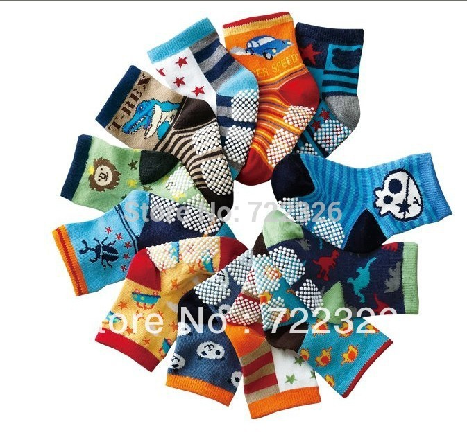 12pairs/lot Wholesale 2018 New Cute Baby Socks/Kid Boy Slip-resistant Cartoon Floor Socks 1-3 Years Boy Socksctws0009
