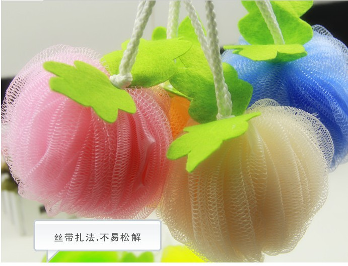 2014 Wholesale Summer Household Flower Bath Ball Candy-Colored Safe PE Bath Balls With Rope 100Pcs / Lot Free Shipping