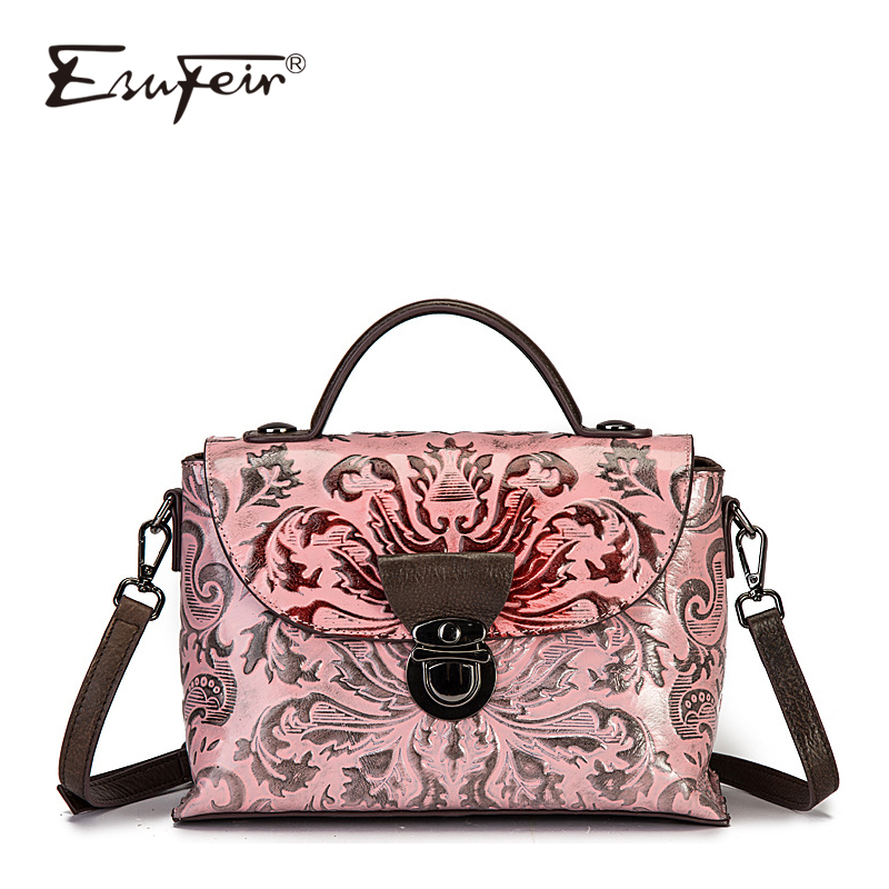 2018ESUFEIR Genuine Leather Vintage Women Handbag Fashion Embossing Women Bag Luxury Design Famous Brand Bag Women Crossbody Bag vintage women s crossbody bag with color block and buckle design