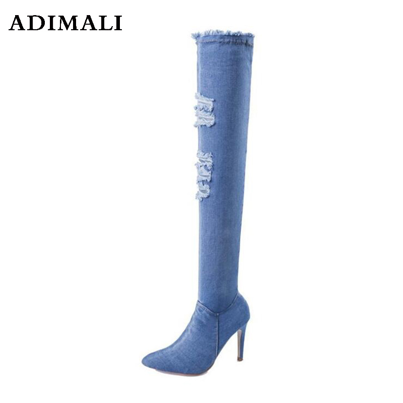 2018 New Women Sock 8 CM Boots Pointed Toe Elastic High Boots Slip On High Heel Ankle Boots Women Pumps Stiletto Botas