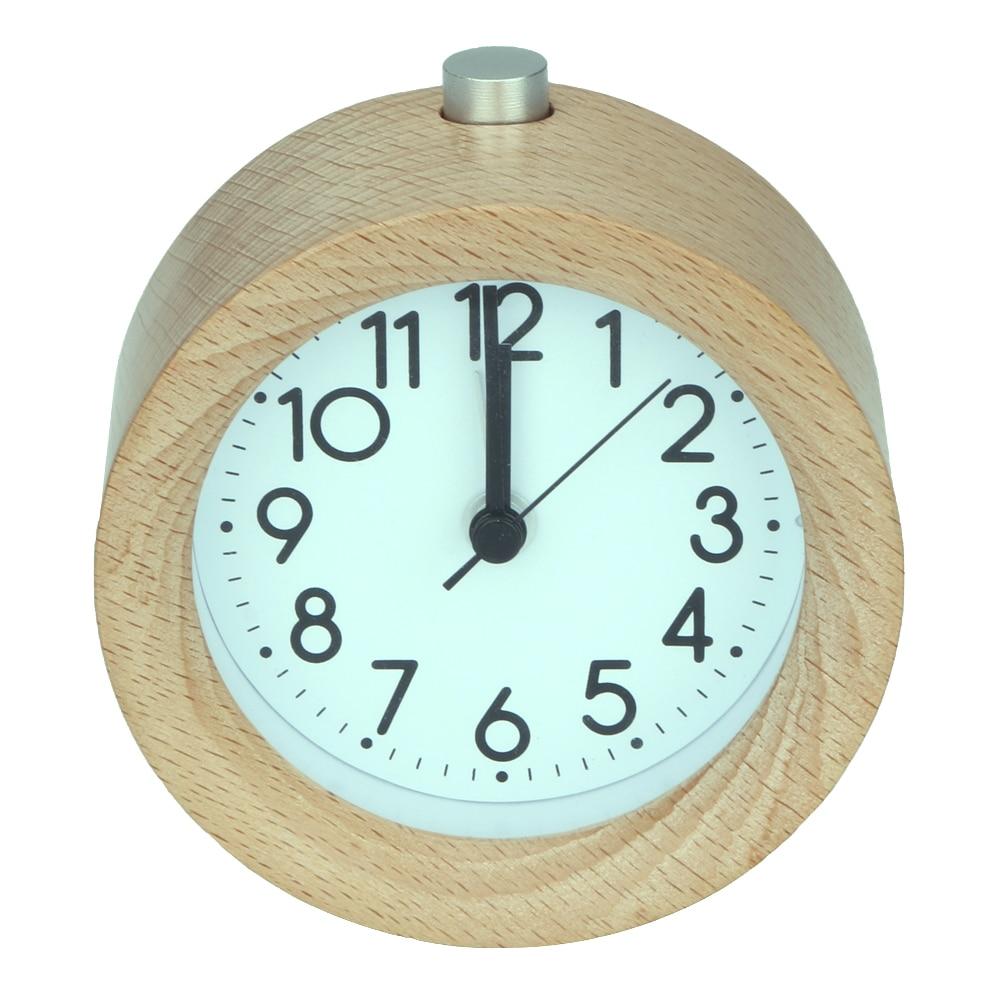 Retro Wooden Alarm Clock Circular No Ticking Snooze Backlight Digital Desk Wood Clock Gradually Ringing Alarm Bell Desk  Clock