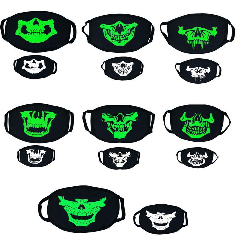 Cool Unisex Luminous Mask Halloween Cosplay Props Horror Skull Head Teeth Masks Cotton Winter Warm Dust-proof Gauze Masks