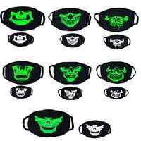 Kühlen Unisex Luminous Maske Halloween Cosplay Requisiten Horror Schädel Kopf Zähne Masken Baumwolle Winter Warme Staub-proof Gaze Masken
