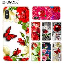 Transparent Soft Silicone Phone Case Red butterfly on white roses flower for Xiaomi A1 A2 8 F1 Redmi S2 Note 4X 5 6 5A 6A Pro(China)