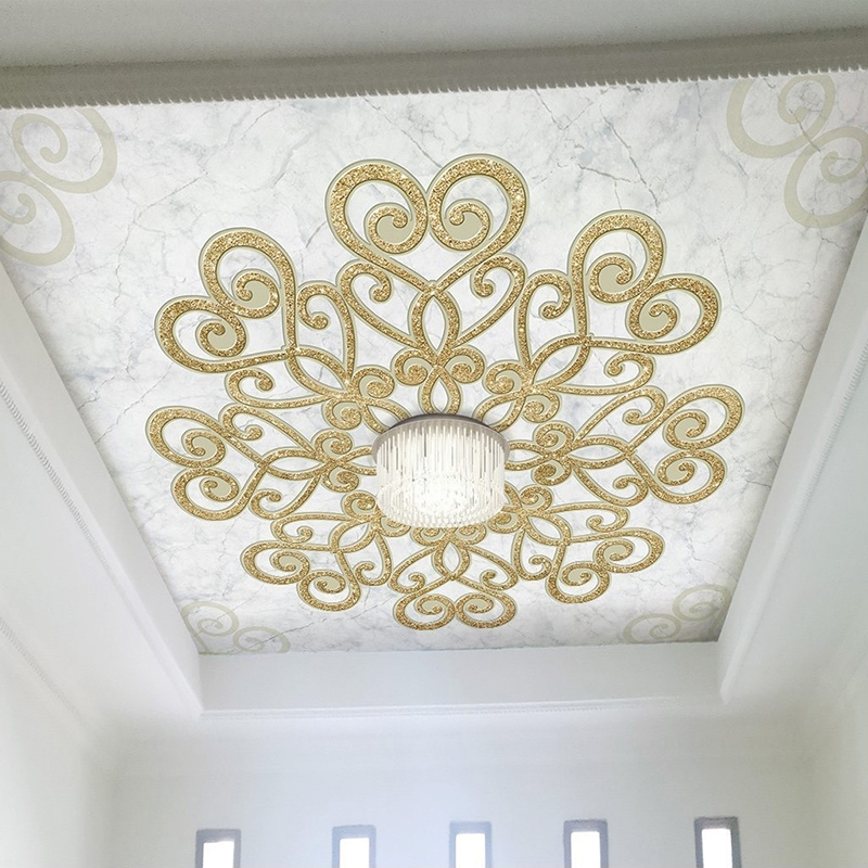 Personnalisé 3D Photo Papier Peint de Style Européen Imitation Marbre Fleur Motif Plafond Décor Peint Papier Peint Pour Salon Chambre
