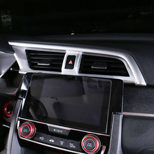 ABS Plastic car styling For Honda Civic 10th Accessories 2016 2017 Car conditioner air Outlet cover decoration trim 3PCS car styling auto side skirt car abs chrome side body door decoration trim accessories for honda civic 10th 2016 2017 2018 2019