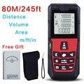 Frete Grátis Red 80 M/245ft Alta Precisão Handheld Rangefinder medidor de distância A Laser Fita Métrica Área/Volume Gama localizador