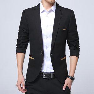 Image 2 - Moda yeni erkek rahat Blazer Slim Fit Masclulino çentikli yaka düz renk iş günlük giysi Blazer erkekler