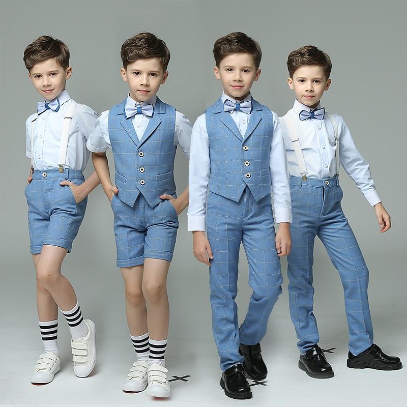 4pcs/set Strap/Vest+Pants+Shirts+Bowknot Tie Wedding Blazers Sets Single Breasted Show/Performance Groom Boys Blue Suits