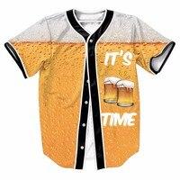 It S Beer Time Soft Drink Sport Baseball Jerseys New Hip Hop Streetwear US Size Buttons