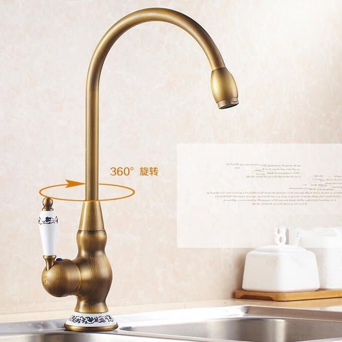 Ceramic Kitchen faucet Antique Brass Bathroom Basin Faucet Swivel Spout Vanity Sink Mixer Tap Single Handle