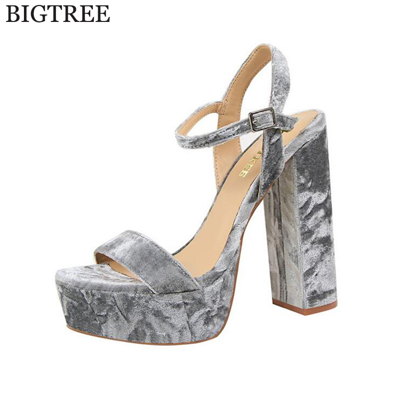 BIGTREE Sexy Shoes Gladiator Women Pumps Perspex Platform High Heels Rough with Suede Classic Buckle Strap Women's sandals k156 2017 suede gladiator sandals platform wedges summer creepers casual buckle shoes woman sexy fashion beige high heels k13w
