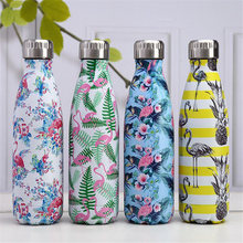 Flamingo Water Bottle 500ml Marble Texture Stainless Steel Insulated Coffee Cup Portable Handy Thermos Gift